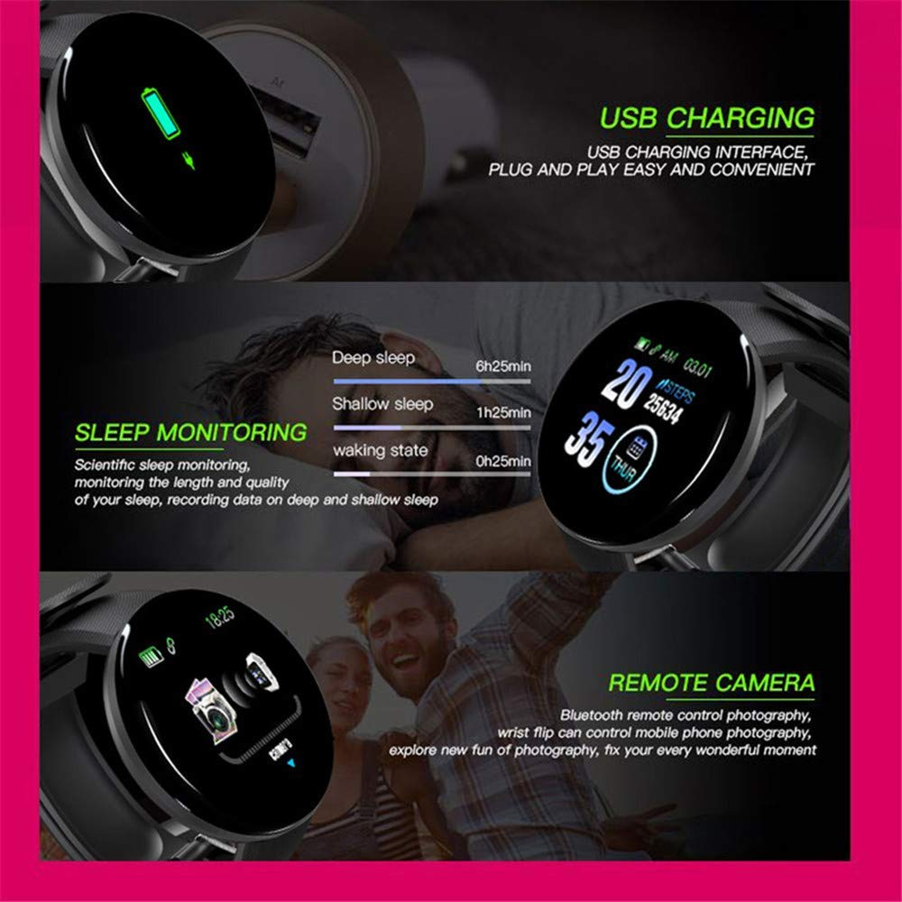 D18 Smart Watch With Fitness Tracker Blood Pressure Heart Rate Monitor 2