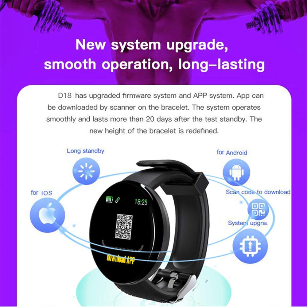 D18 Smart Watch With Fitness Tracker Blood Pressure Heart Rate Monitor 3
