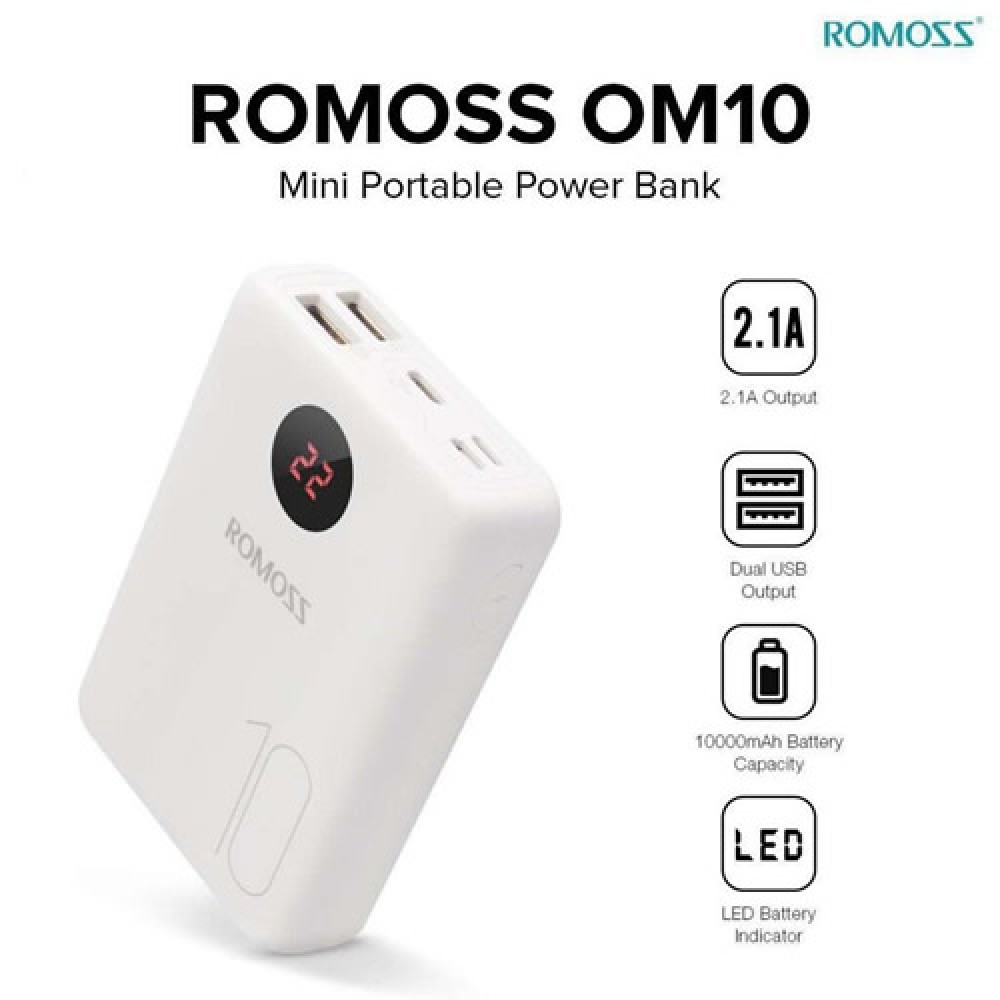 Romoss OM10 With Lcd 10000 mAh Power Bank 3 Input 2 Output
